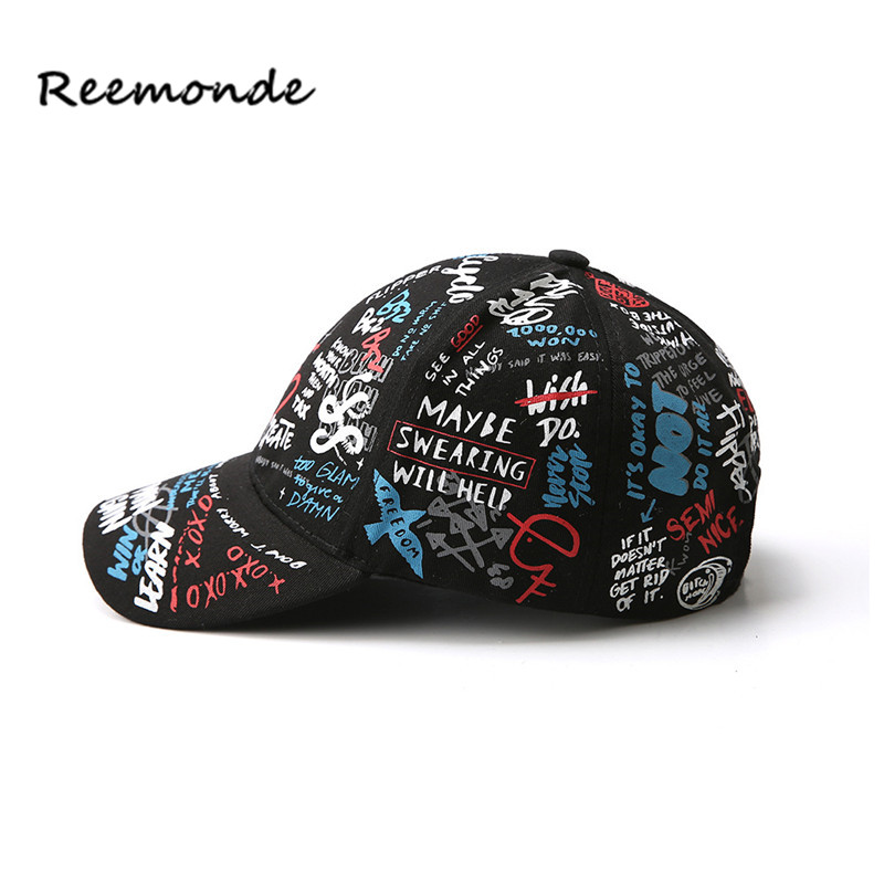 fa8f36ef632 REEMONDE Summer Baseball Cap Graffiti Sun Caps Hip Hop Visor Spring Hat  Adjustable Snap back Hats For Women-in Baseball Caps from Apparel  Accessories on ...