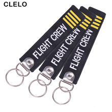 CLELO Flight crew Luggage tags Fashion Embroidery Bag tag with Keyring Key chain for Travel Luggage Label 3PC/LOT(China)