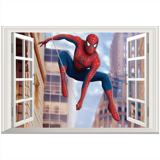 Spider Man Through D Fake Window Stickers Super Heroes The - Vinyl wall decals avengers