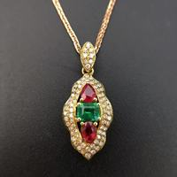 18K Gold 0 808ct Natural Ruby And Emerald Pendant Necklace 0 336ct Diamond Encrusted Fine Jewelry