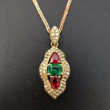 18K Gold  0.808ct Natural Ruby  And Emerald Pendant Necklace 0.336ct Diamond Encrusted Fine Jewelry sapphire-jewelry