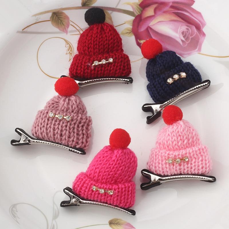 New Fashion Children Gift Cute Headwear Korean Wool Hat Hair Clips Cap Hairpins Girls Hair Accessories Women Barrettes wool skullies cap hat 10pcs lot 2289