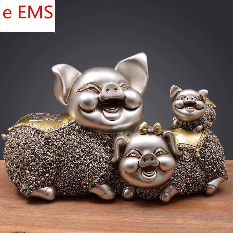 Continental Style Cartoon Happiness Pig Cabinet Home Decoration Animals Statue Creative Resin Artware Marry Gift L1846 dentist gift resin crafts toys dental artware teeth handicraft dental clinic decoration furnishing articles creative sculpture