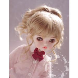 Bybrana bjd boneca com peruca 1/3 bebê gigante 1/4 1/6 1/8 imitação cavalo mar leite chá marrom alta rabo de cavalo trança