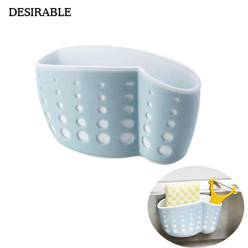 DESIRABLE Suction cup sink bag plastic thickened Hollow drain sponge wipes and other small items storage bag four color to chose