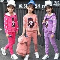 Girls 4 12 Years Sports 3 PCS Set (Hooded Vest+Tee Shirt+Long Pant) Fashion Dot Cartoon Thick Warm Fleece Spring Autumn Suits