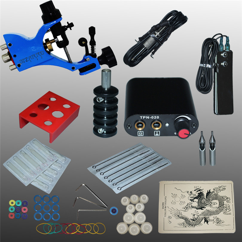 Tattoo Machine Kits Professional Complete Rotary Tattoo Kit 1Pcs Rotary Machines Gun Power Supply Needles Grips Tips Beauty Tool professional tattoo kits liner and shader machines immortal ink needles sets power supply