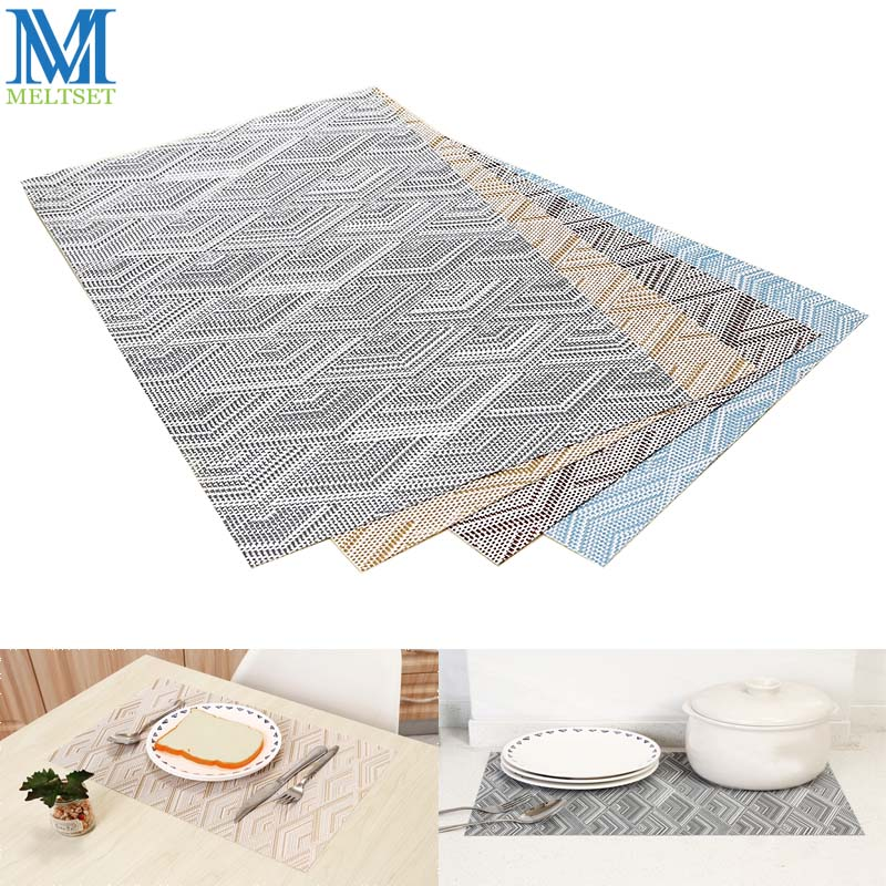 Meltset 4pcs/lot PVC Placemats Rectangle Table Mats For Dinning Table European Style Cup Pot Pads Kitchen Dining Decoration