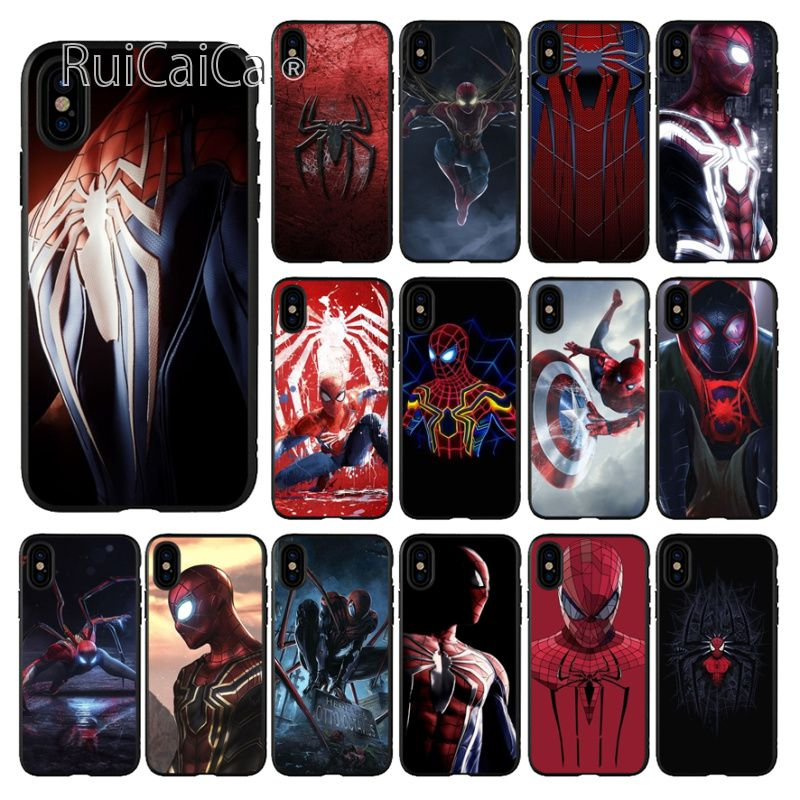Ruicaica Marvel Avengers Spiderman Coque Shell Phone Case for iPhone X XS MAX 6 6s 7 7plus 8 8Plus 5 5S SE XR in Half wrapped Cases from Cellphones Telecommunications