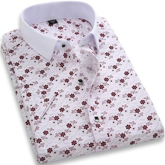 Homens Camisa Xadrez de Manga Curta camisas Casual Camisa Chemise Homme Camisas Hombre Mens Camisas de Vestido Havaiano Camisa Masculina Sociais