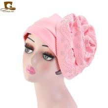 New Fashion Rhinestone Big Flower Turban Women Muslim Headwrap Caps for Ladies Wedding Party Hair Hijab Hat Bohemian Turbante