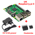 UK Raspberry Pi 3 Model B Starter Kit Pi 3 Baord+5V 2.5A Power Supply Adapter + 2pcs Aluminum Heat Sink Free Shipping