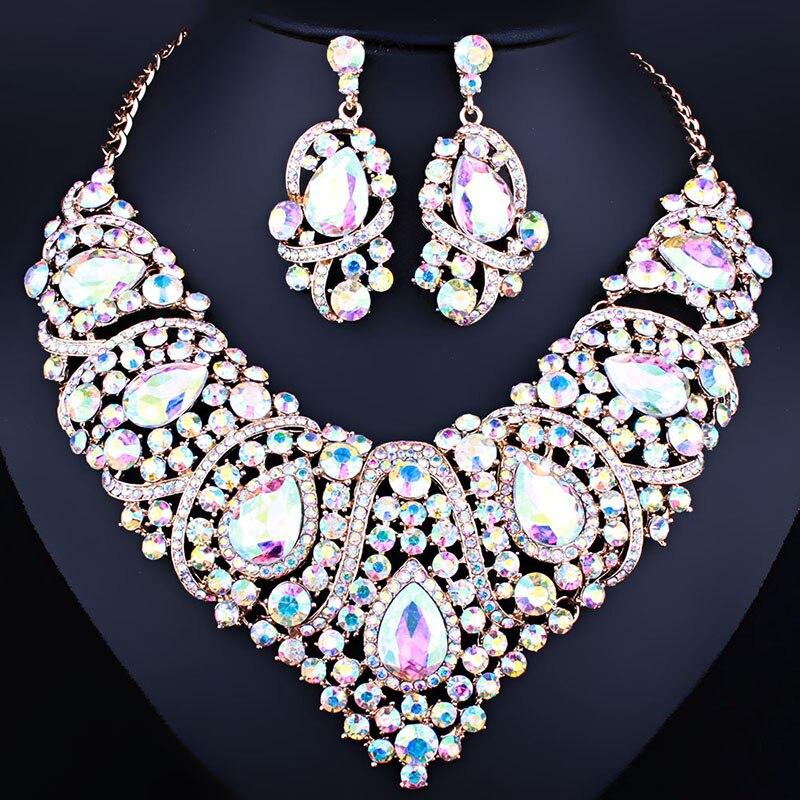 Jóias de casamento Declaração Multicolor de Cristal Strass Colar Brincos definir conjuntos de Jóias da Forma Do Coração