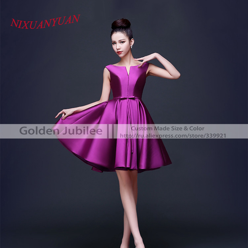 Shipping Custom Dress Line Knee: 2016 Hot Sale Knee Length Gown Red Satin A Line Bridesmaid