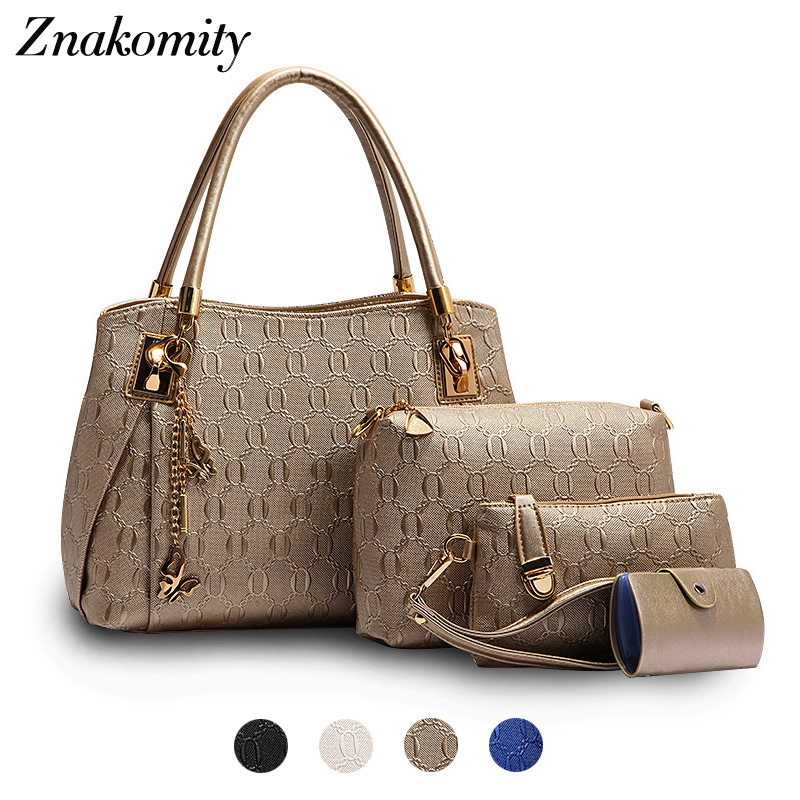 Znakomity Ladies hand bag sets 4 pcs Fashion composite bag women leather bag set High quality luxury female hand bags gold Large fashion girls pet hand bag brooch set