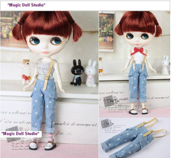 MG064]Free Shipping Neoblythe doll Acessories# Star Pattern Overalls ...