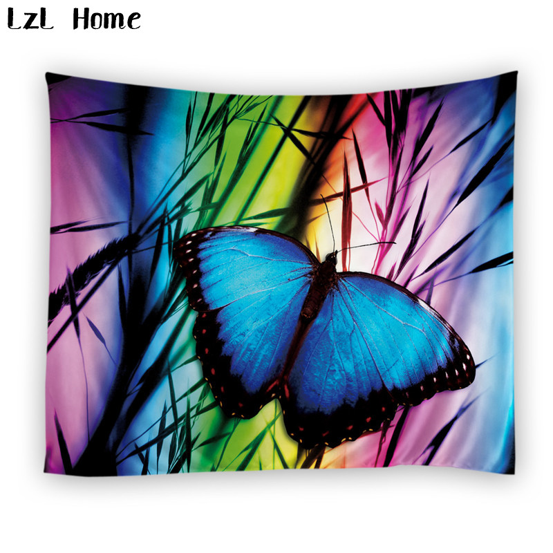 LzL Home 1 PS colorful butterfly sheep horse cat tapestry lovely cartoon animals 3d wall hanging tapestry polyester beach towels zwbra shower curtain