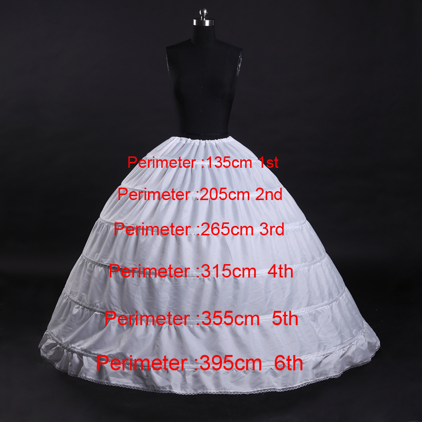 Fast shipping Hot sale 6 Hoops Crinoline Underskirt or Petticoat For Wedding Dress Bridal Gown Plus size 65cm-110cm