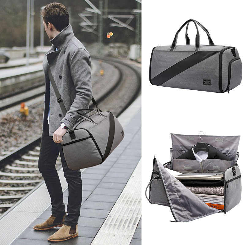 ceb6983a4 ... new men duffle bag 2 in 1 Suit case travel bag big capacity Foldable  luggage bag ...