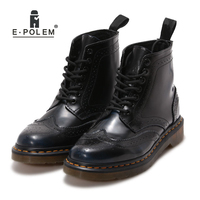 E.POLEM Wiping Dark Blue Unisex Boots Black Shoes Boot Girls Floral Brogue Boots Ladies Women Square E Head Booties Ankle Shoes