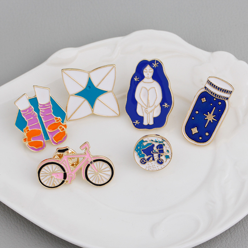 Cartoon Brooch Bicycle Girl Shoes Origami Wishing bottle Travel around the world Enamel Pins Denim Jackets Hat Lapel Pin Badges