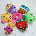 7 pçs/lote Brinquedos de Pelúcia Frutas Maçã Morango Biscoitos Rosquinhas Batom Chocolate Muffin Recheado Brinquedos