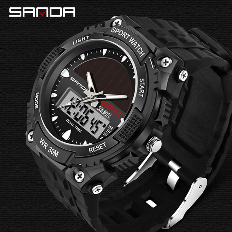 SANDA Watches Men Waterproof Solar Power Sports Casual Watch Man Men's Wristwatches 2 Time Zone Digital Quartz LED Clock Men 2018 sanda top brand outdoor men sports watches led digital waterproof wristwatches alarm calendar fashion casual quartz watch