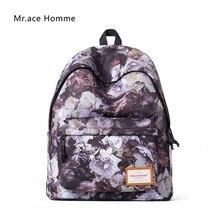 Mr. ace homme 2017 женщины рюкзак белая Роза Отпечатано Рюкзак Плечо Bagpack консервативный стиль школьников сумки для девочек дамы