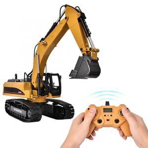 Image 5 - 1580 2.4G 23CH RC pelle jouet 1/14 échelle métal ingénierie véhicule avec LED Flash télécommande chenilles voitures camion jouet