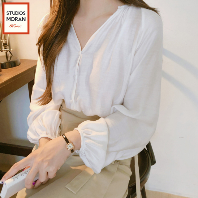 952b94673c2f V Neck Buttons Puff Sleeve White Blouse Vintage Style Retro Lady Shirt  Women Top Chemise Femme Chemisier Blusa Mujer Camisa