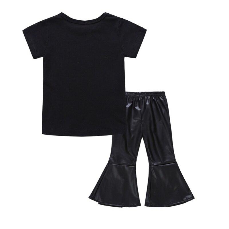 Stylowa i modna dziewczynka ustawia Czarną koszulkę z krótkim - Ubrania dziecięce - Zdjęcie 4