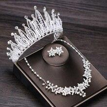 3 Pcs/Set Baroque Exquisite Crown Bride Big Wedding Accessories Rhinestone Pearl Diadem Tiara Hair Ornaments