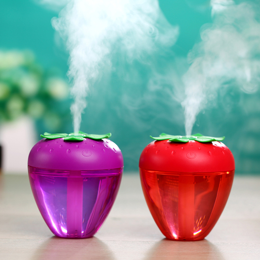 Cute Mini Strawberry Shape USB Ultrasonic Air Humidifier Essential Oil Aroma Diffuser Aromatherapy Home Office Mist Maker
