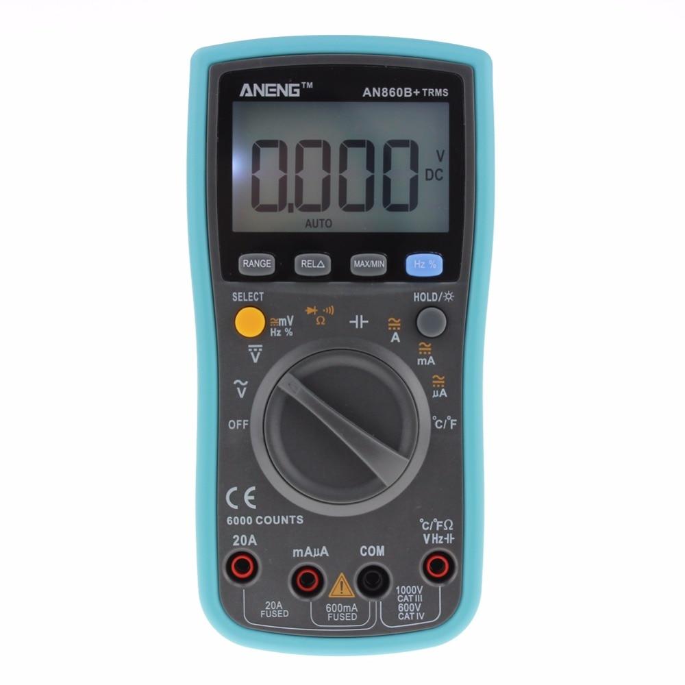 Digital TRMS Multimeter  AC DC Ohm Voltmeter Temperature  Auto Range Ammeter 6000Counts With Backlight portable lcd digital multimeter ac dc current ohm voltmeter temperature auto range ammeter 6000 counts backlight