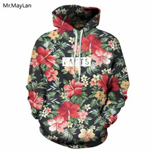 Spring Autumn Fashion Men Women Hoodies with Cap Print Red Flowers Green Leaves 3D Hooded Sweatshirts Hoody Tracksuit Jackets