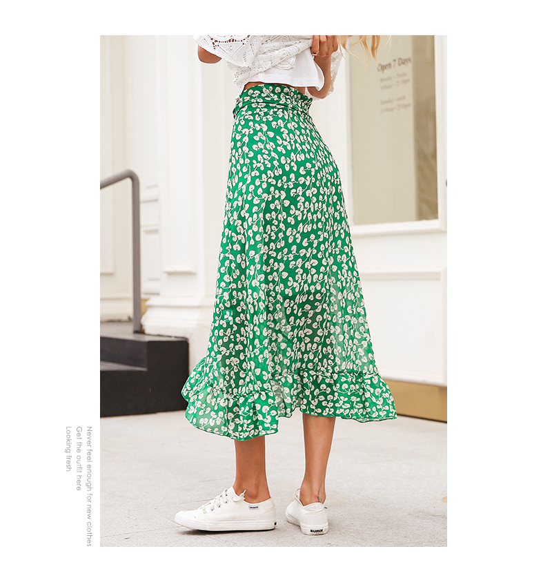 Ruffle Leaf Print Asymmetric High Waist Wrap Skirt