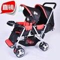 Antes y después de la doble bebé carro ligero plegable bebé se sienta en dos doble niños bb de cesta