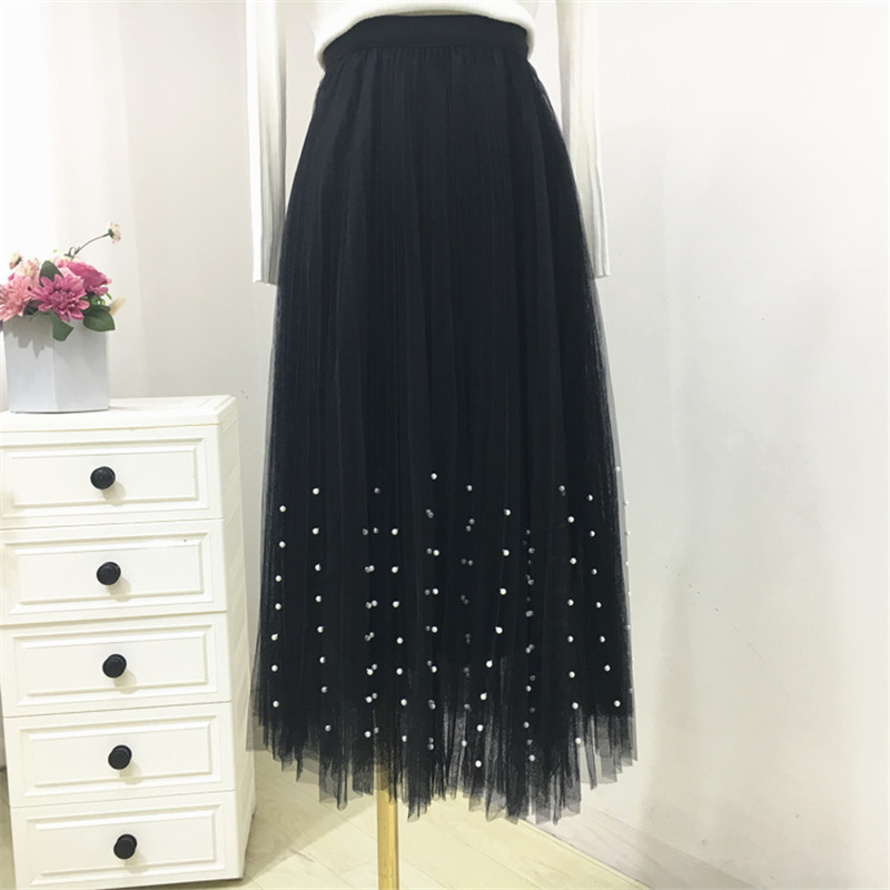 HTB18jFZPXzqK1RjSZFoq6zfcXXaS - New Spring Summer Skirts Womens Beading Mesh Tulle Skirt Women Elastic High Waist A Line Mid Calf Midi Long Pleated Skirt