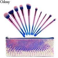 New Pro 10PCS Mermaid Makeup Brushes Set Eyebrow Eyeliner Blush Blending Foundation Cosmetic Beauty Make Up