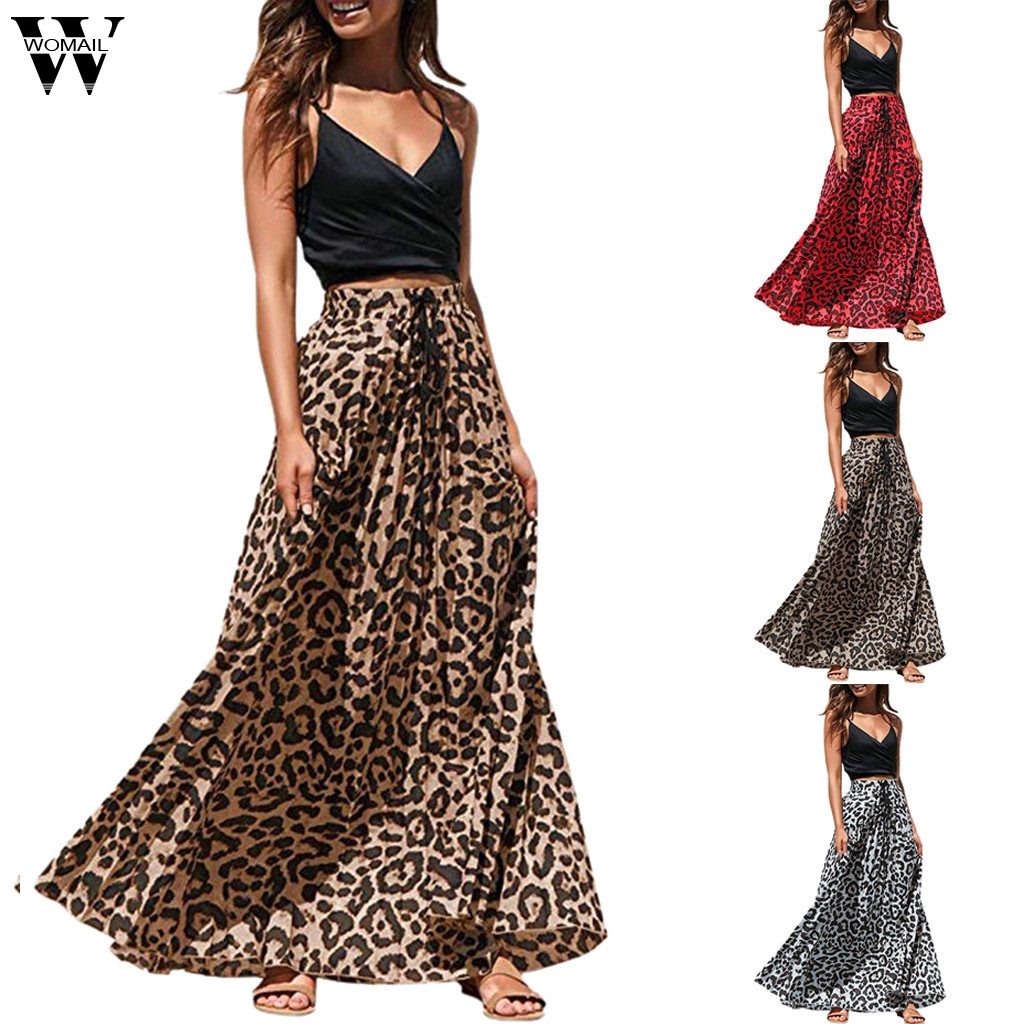 Womail Skirt Women NEW Summer Bohemian Leopard Print Long Drawstring Pleated High Waisted Maxi Skirt Party Fashion 2019 A16