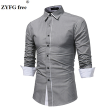 ZYFG free men shirt casual long-sleeved shirts business gentleman simple male clothing tops