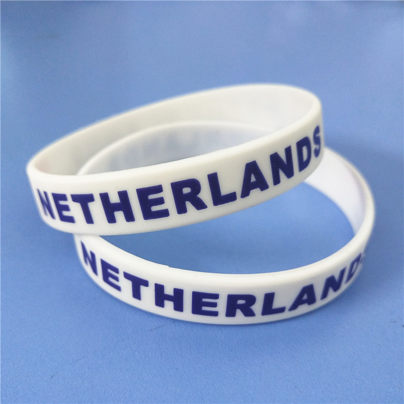 1PC Netherlands Flag Silicone Wristband White Nederlands Football Sports Souvenir Silicone Rubber Bracelets&Bangles Gifts SH223 2
