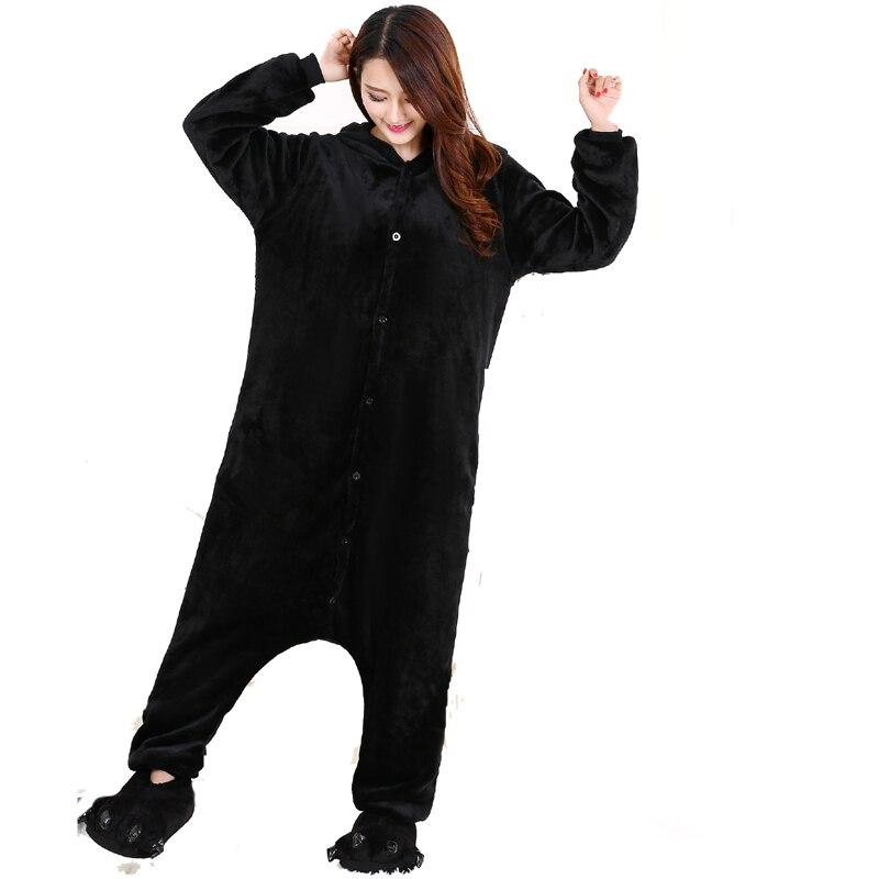 Cute Kumamon Kigurumi Onesie Animal Adult Men Women Black Pajamas For Halloween Party Jumpsuit Soft Flannel Cosplay Costume (3)