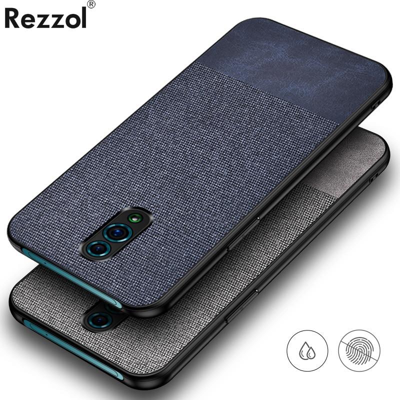 For OPPO Reno Case Fabric Cloth Simple Hard PC Back Cover For OPPO Reno Phone Case Soft Silicone bumper Rezzol Business Fundas