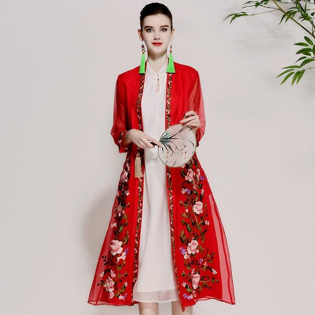 Floral Verano Vestido Cosecha Bordado Windbreaker Mujer Abrigos dCqpwxOZ