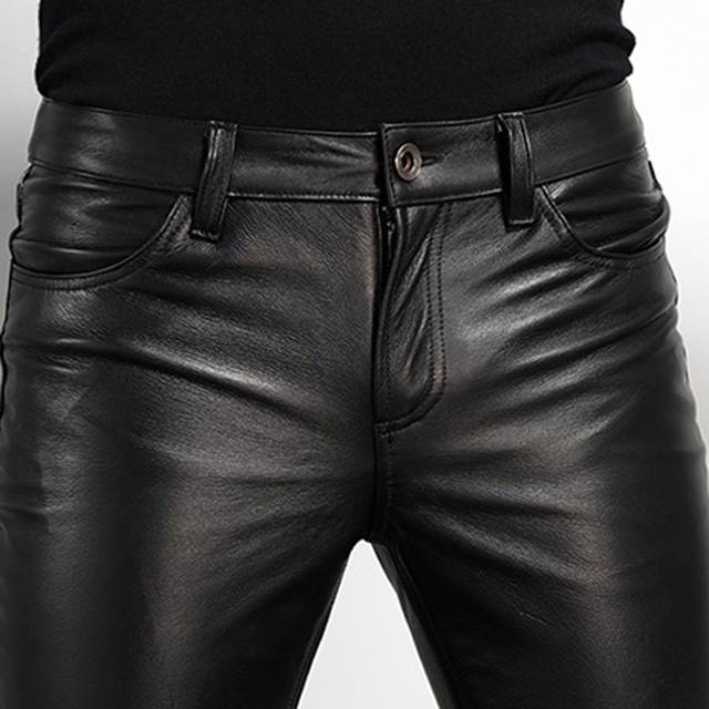 Men's Leather Pant Biker Pants Motorcycle Punk Rock Pants Tight Gothic Leather Pants  Slick Smooth Shiny Trousers Sexiest TJ01 4