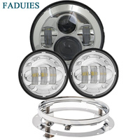 FADUIES Headlight Motorcycle Parts 7 LED Headlight + 4.5 4 1/2 inch Passing Light For Harley Heritage Softail Classic