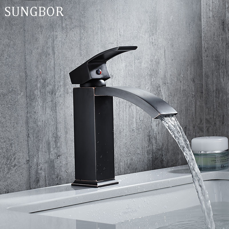 Bathroom faucet black basin faucets hot and cold water sink taps bath washbasin waterfall single handle mixer tap AL-7225H wall of the cold and hot water tap copper concealed washbasin single hole basin faucet stainless steel waterfall faucet lt 304 4