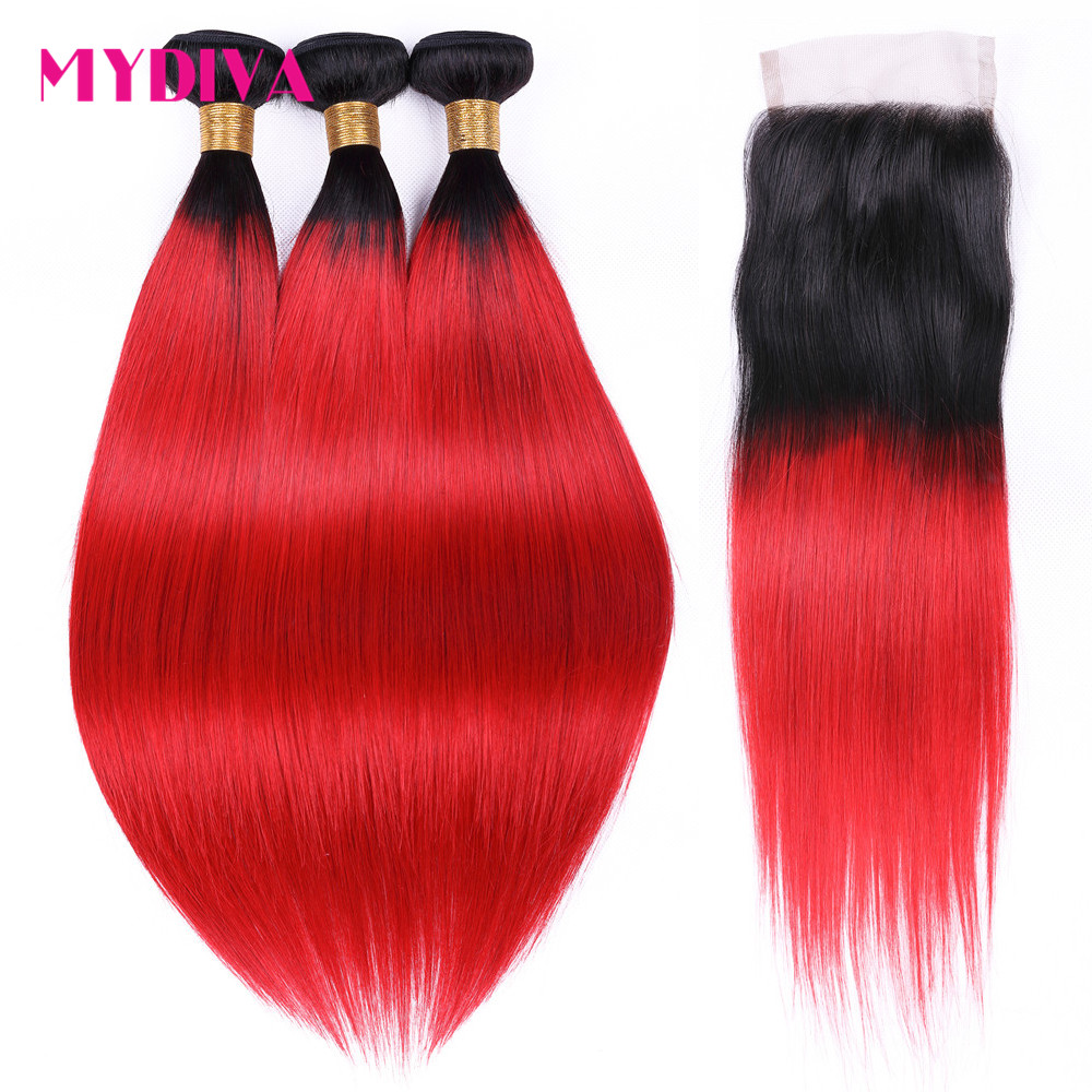 Mydiva Brazilian Hair Weave Bundles With Closure Straight Ombre 1B Red Human Hair Bundles With Closure Non Remy Red 4 PCS/Lot