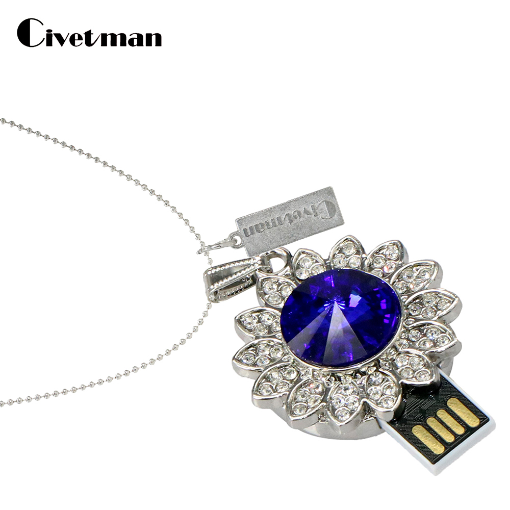2018 New Metal Crystal Pendrive 4GB 8GB 16GB 32GB 64GB Ocean Star Pendant USB Flash Drive USB 2.0 Memory Flash Stick Pendrive
